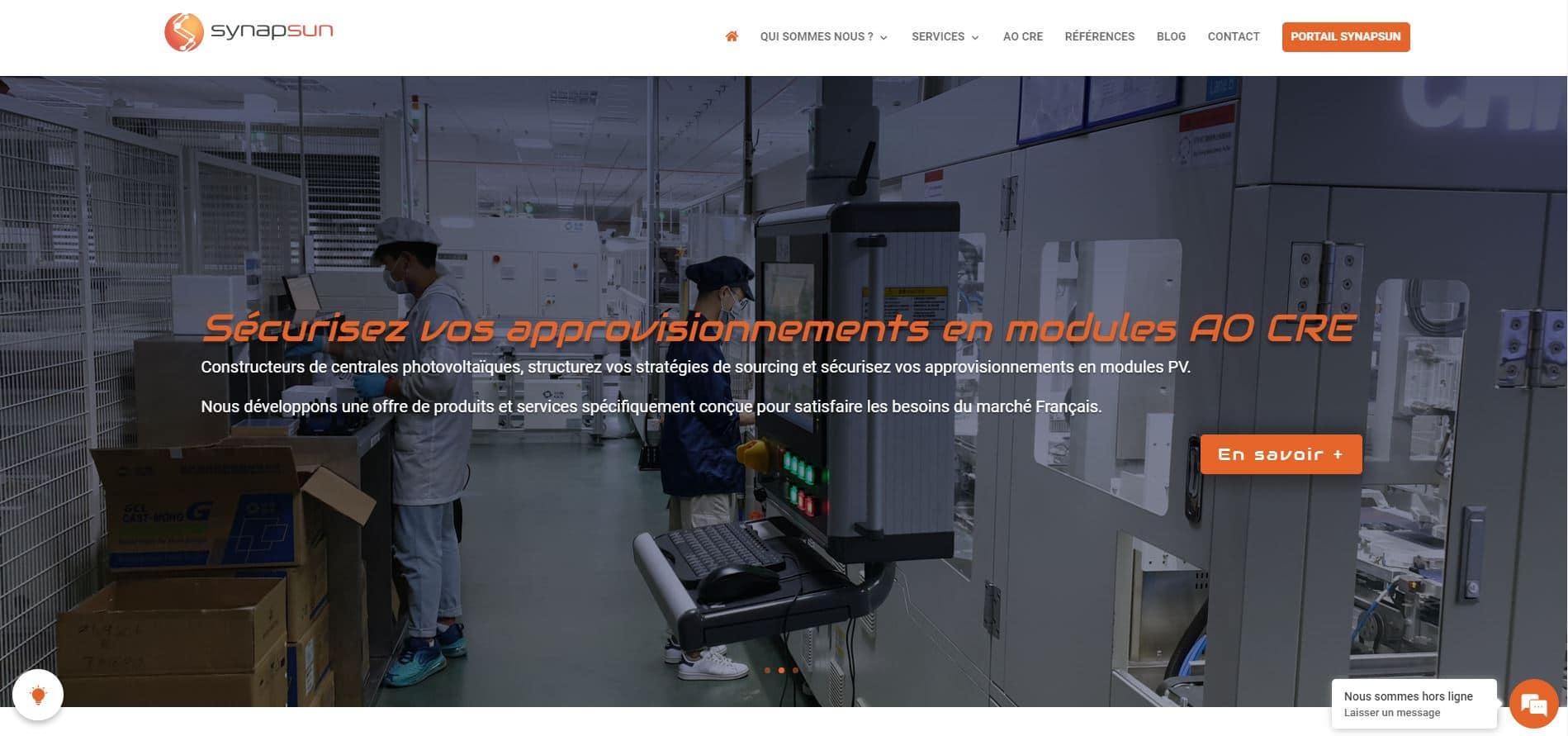 Page d'accueil du nouveau site web de synapsun